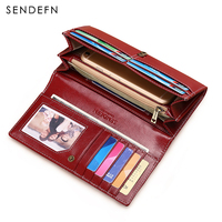 New Arrival Long Wallet Split Leather Wallet Women Zipper Women Purse Button Women Wallets Card Holder