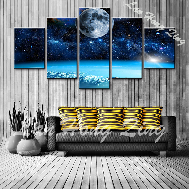 Home Decor Wall Art Pictures For Living Room 5 Panel Blue