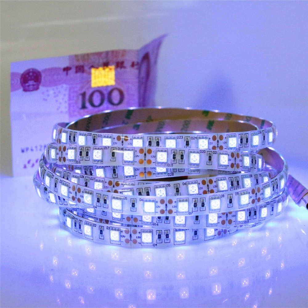 Dc12v 05 5m uv led strip light 5050 smd 60ledsm ip65non dc12v 05 5m uv led strip light 5050 smd 60ledsm ip65non waterproof ultraviolet ray led diode ribbon purple flexible tape lamp in led strips from lights aloadofball Images