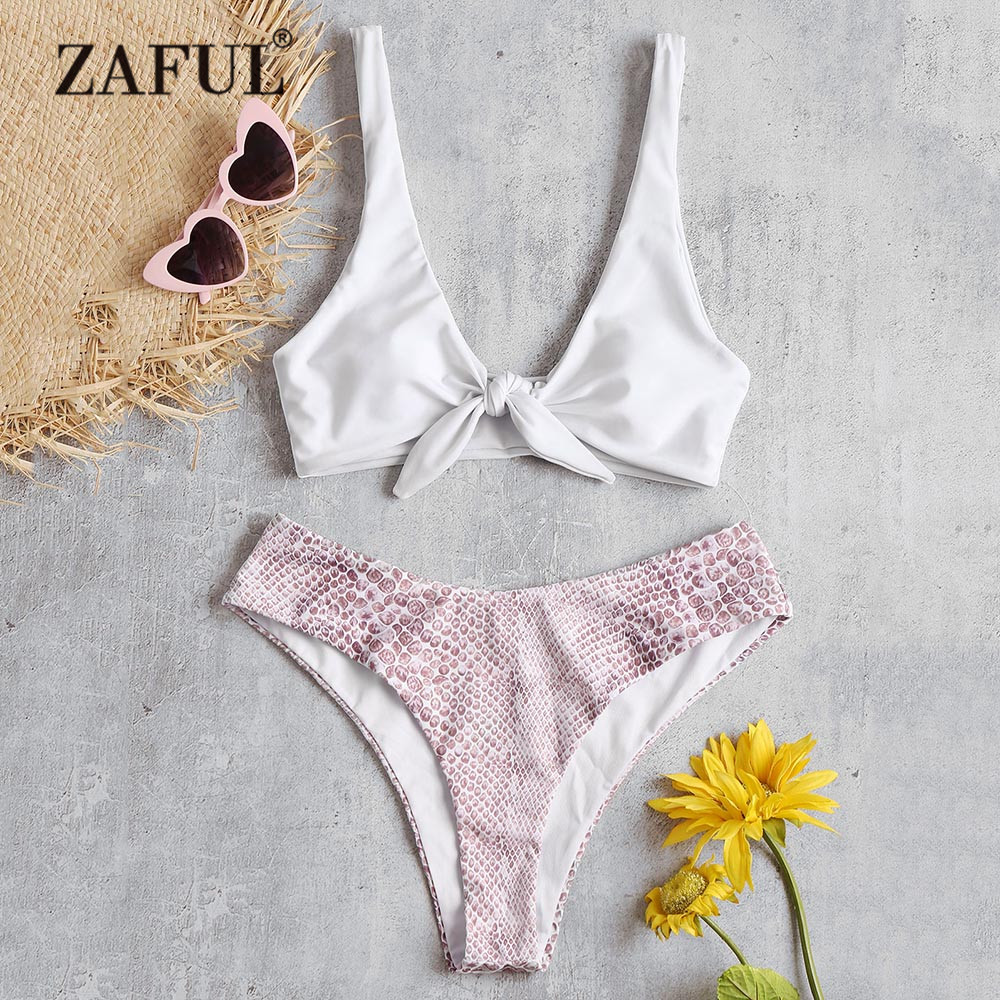 9146d1b56874d0 ZAFUL Knotted Stone Bikini Swimwear Women Swimsuit Plunging Neck Front Tied  Stone Padded Bikini Set Brzilian