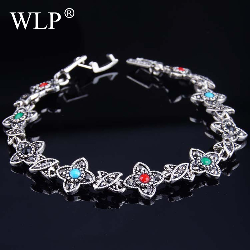 2018WLP Charm Bracelet Women Tibetan Silver Jewelry Bangles Silver Plated In The Solar System Guardian Star Gift S007
