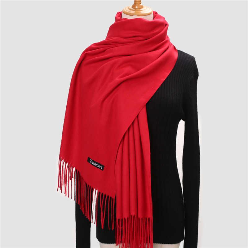 Pashmina echarpe feminina, lenço de inverno 2020 puro de caxemira grosso pescoço