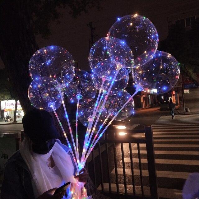 NEW 10pcs/lot BOBO Clear Balloon+3M Led Strip+balls Sticks Transparent Luminous Led Balloons Wedding Decoration Birthday Party
