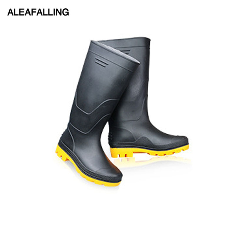 Aleafalling New Thicken Waterproof Rain Boots Winter Shoes Men Rain Boy's Water Rubber High Tube Black Boots Slip On Botas M83