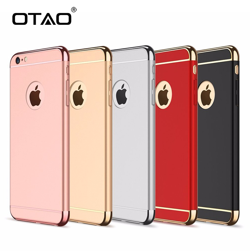 OTAO Plating Cases For iPhone 7 6 6S Plus Phone Cover Luxury Thin Back Hard Armor Phone Case Protective Phone Bag Back Case