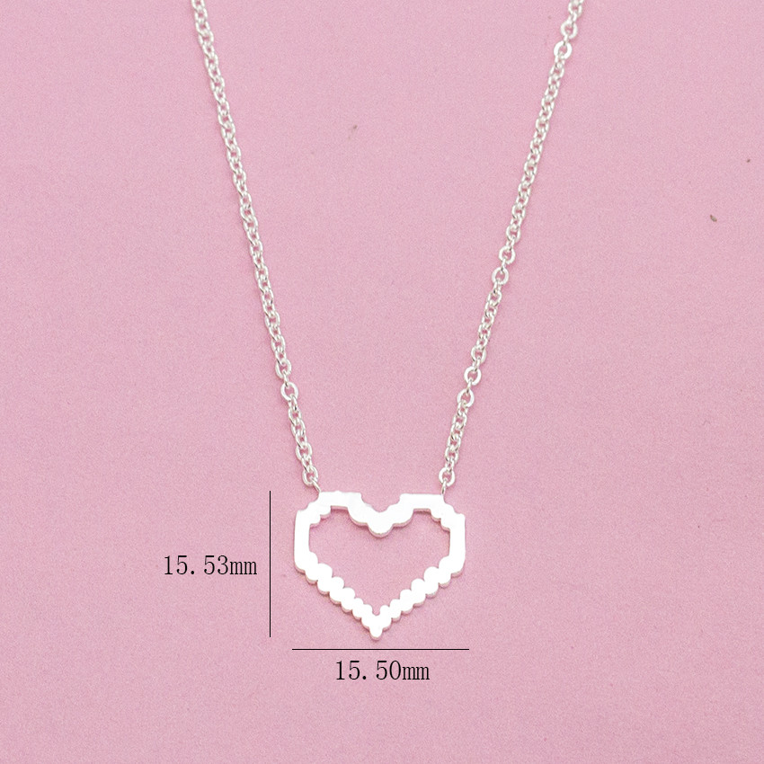 ACEBFEET Bohemia Rose Gold Choker Heart Pendant Necklace Women Collar BFF Jewelry Stainless Steel Maxi Colar Silver Bijoux in Pendant Necklaces from Jewelry Accessories