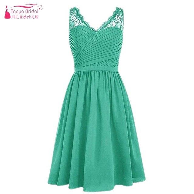 A Line Cheap Short Bridesmaid Dresses Knee Length Mint Green Chiffon Lace Edge Simple Wedding Guest Dress Formal Wear DQG179