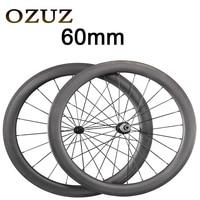 Powerway R13 Hub 424 Spokes OZUZ 60mm Carbon Wheels Road Bike Bicycle Clincher With Alloy Nipple