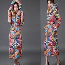 2017 new Long coat womens jacket new printing was thin down cotton padded thick coat windbreaker