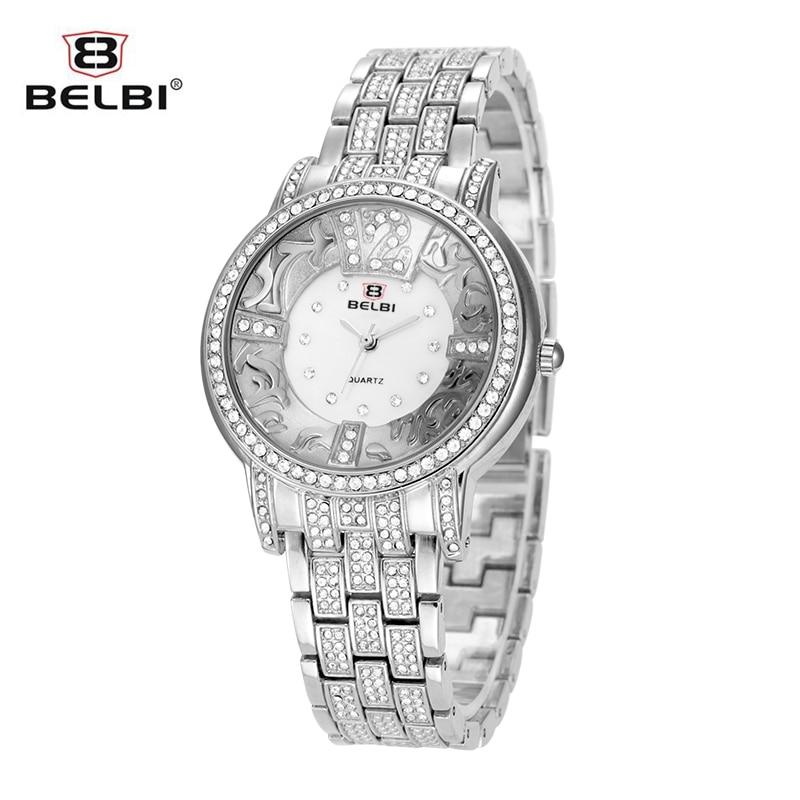 BELBI Watch Luxury Brand Silver Women Quartz Watch Fashion Gold Steel Watch Full Crystal Dress Wristwatch
