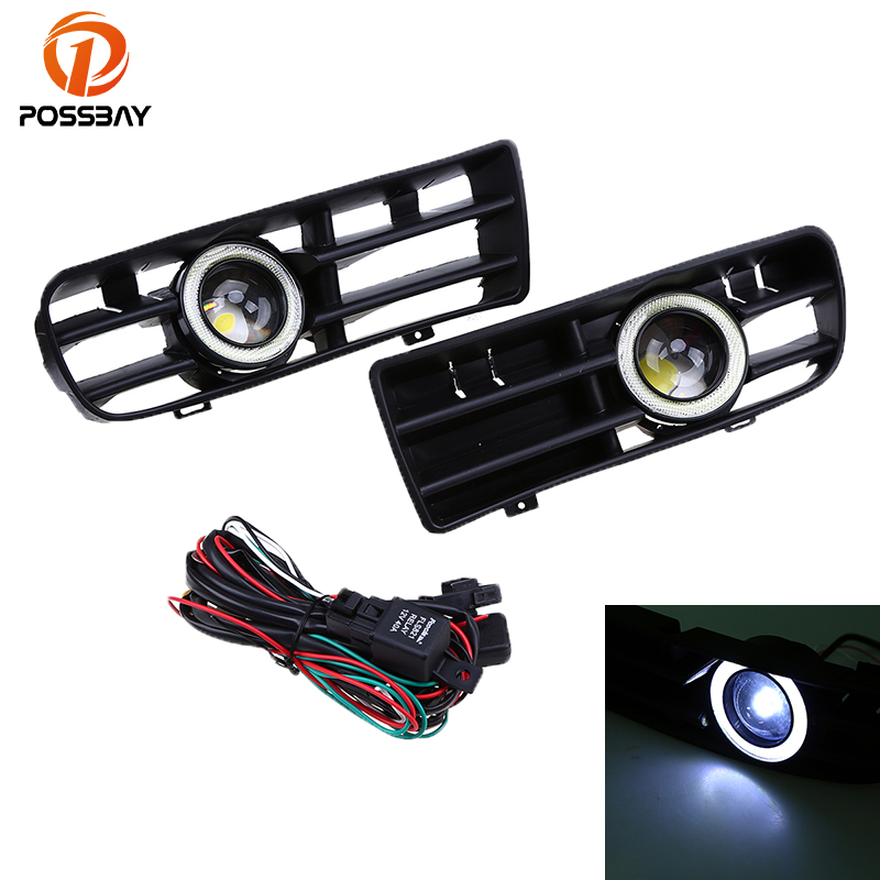 POSSBAY LED Running Fog Lights White Halo Angel Eyes Rings Front Grilles for 1998-2006 VW GOLF GTI MK4 Front Fog Lights for vw golf gti tdi r32 mk4 1998 2004 front bumper grill with led angel eyes fog lights switch wiring kit 9443