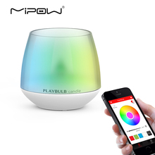 MIPOW PLAYBULB Smart Lights LED Bulb Dimmable Multi Color RGB Wake-Up Wireless Bluetooth with Remote Control Bulb for Home