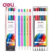 Deli 1pcs pastel color pen 12/24/36 colors can change refills plastic water soluble mechanical pencils student school supplies
