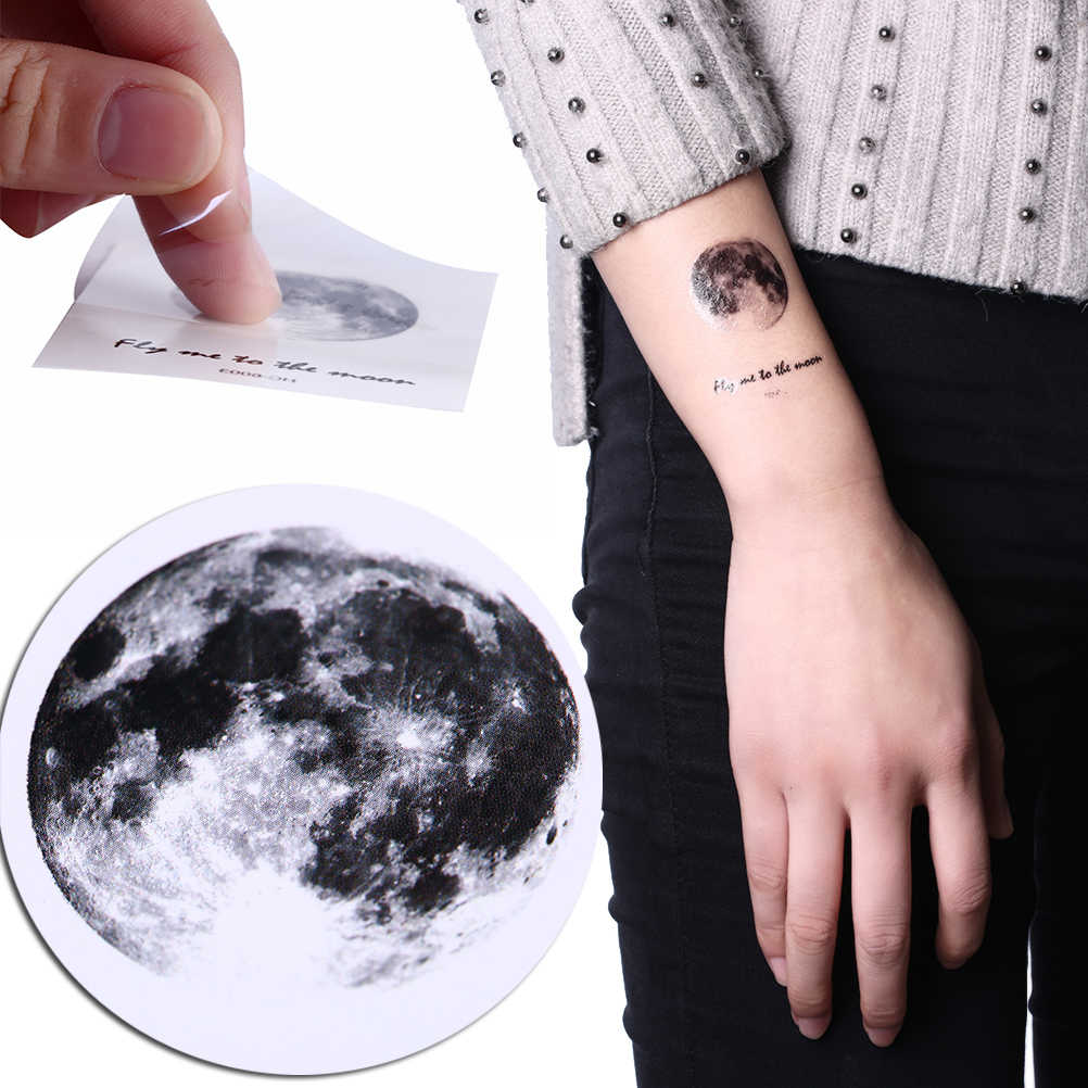 6.5*5.5cm 1 Sheets Waterproof Temporary Fake Tattoo Stickers Vintage Grey Moon Earth Design Tattoo Sticker Make Up Tools