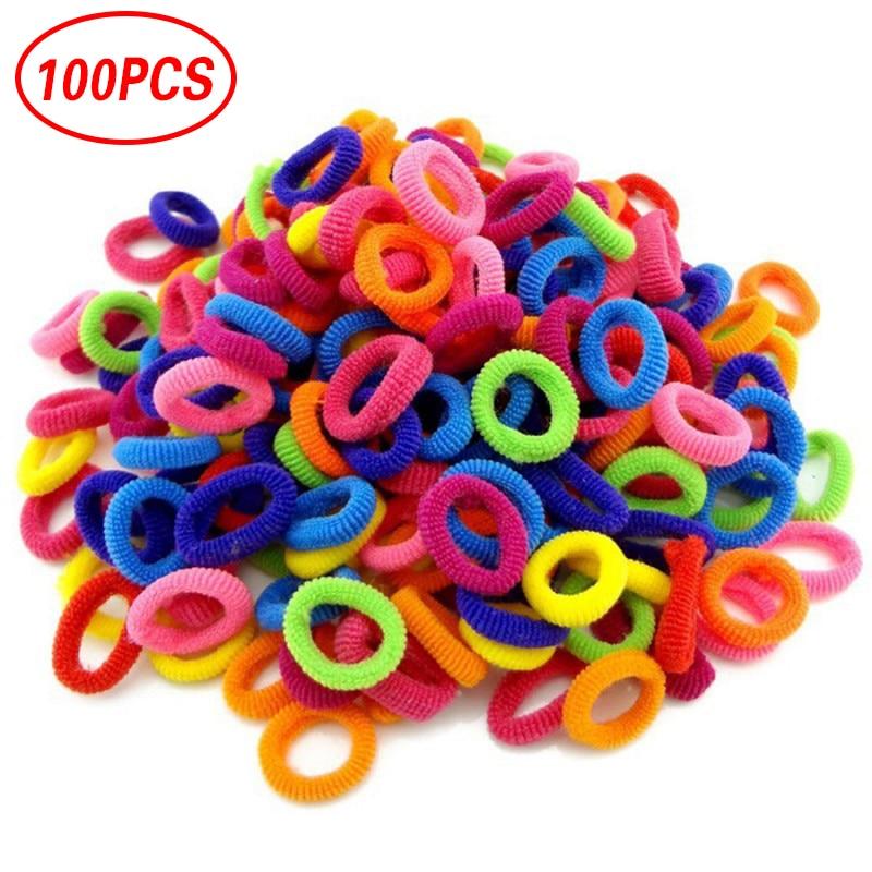 100 Pcs/lot Kids Elastic Hair Bands Girls Children Hair Rope Hair Accessories Kids Baby Headband Decorations Ties Gum For Girls