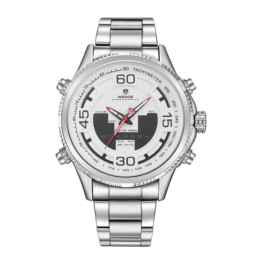 bce3405e3ce4 Weide reloj hombre blanco digital deportivo pantalla LCD back Light fecha  semana cuarzo cronómetro Acero inoxidable banda reloj de pulsera envíos  gratuitos ...