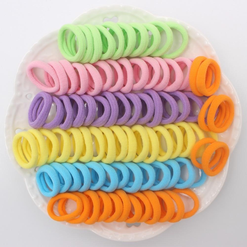 100 шт./лот Новые Модные Детские эластичные резинки для волос 6 видов цветов смешивания веревки флуоресцентные orange аксессуары для волос для девочек QY6831