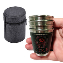 4PCS/Lot 70ML Camping Cups Stainless Steel Outdoor Portable Travel Cup Wine Beer Coffee Whiskey Mug PU Leather Picnic Tableware