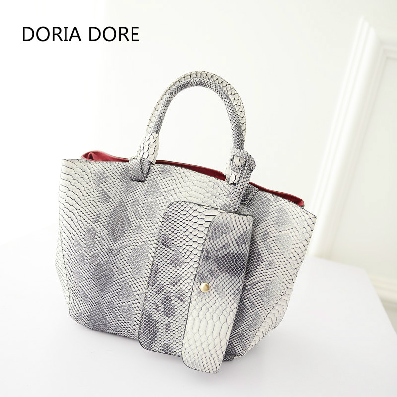 DORIA DORE Serpentine Crossbody Bags For Women Purses And Handbags Bolsos Mujer Pu Leather Single Hasp Shoulder Bags Handbag Tas