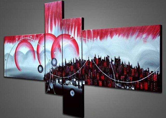 Pintado A Mano 4 Unidades Negro Blanco Rojo Moderno Abstracto