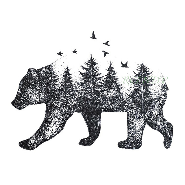 37bbb9e4e Waterproof Temporary Tattoo Siberia forest bear tree bird fox owl wolf  whale tatto flash tatoo fake for girl women men 7