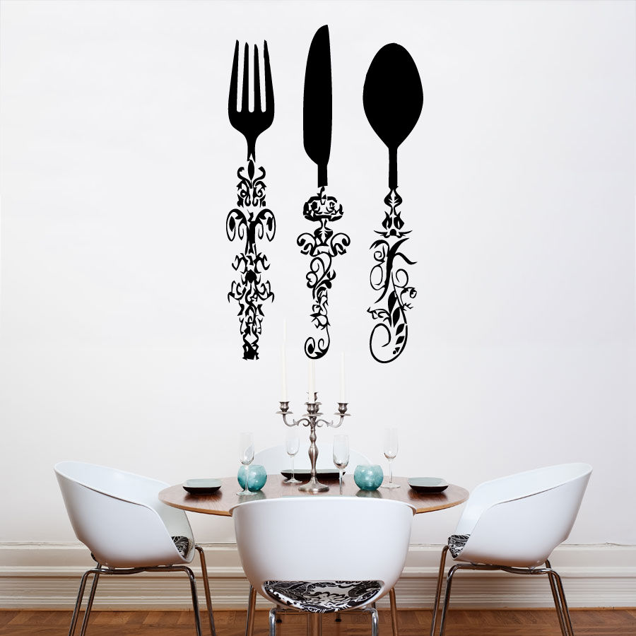 Us 6 23 30 Off Kitchen Wall Sticker Stuff Fork Spoon Knife Room Decoration Vinyl Art Removable Poster Mural Decals Decor Ly1588 In