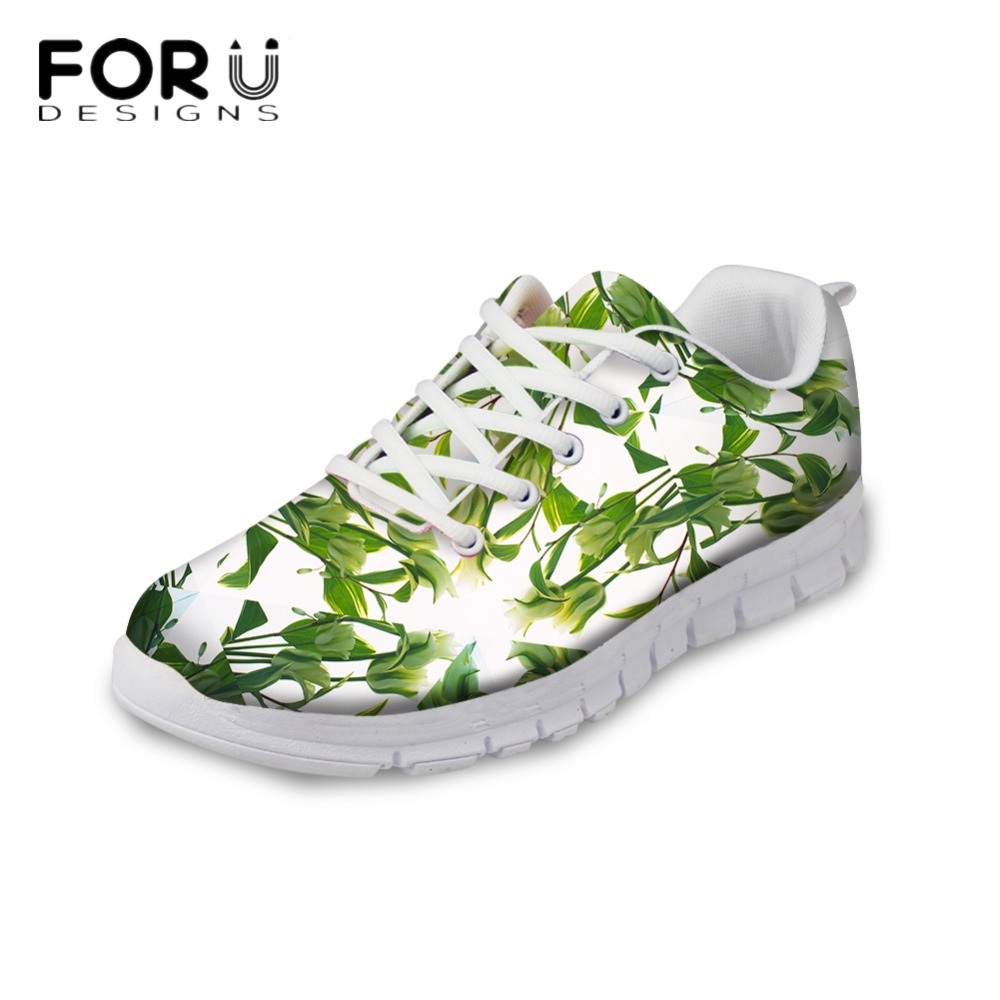 FORUDESIGNS 3D Green Leaves Printed Womens Casual Shoes Flats Women Fashion Autumn Summer Light Weight Flat Shoes Woman Ladies forudesigns 3d fruit pattern autumn casual shoes flats woman light breathable lace up flat shoes for ladies women leisure shoe