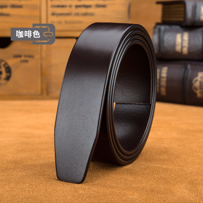 100%cowskin Real Leather Designer Without Buckle Business Belt Body Luxury Strap Fomal Belt For Suit Big Size