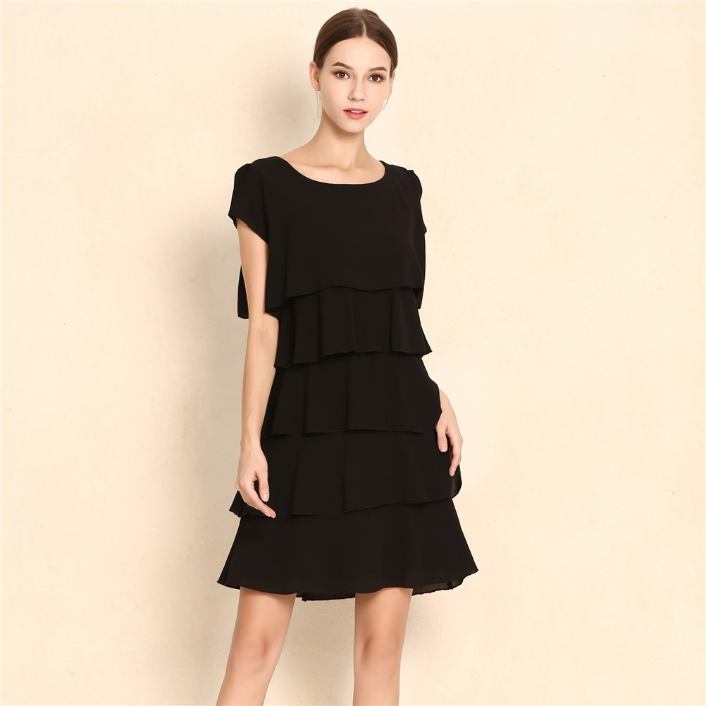 Summer Elegant Chiffon Dress Casual Women Cascading Ruffle Robe Short Sleeves Cake Dresses Plus Size S-5XL