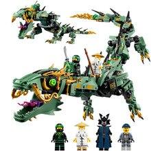 592 шт. серия фильмов Летающий мех Дракон строительные блоки кирпичи игрушки Детская модель подарки совместимый с legoingly ninjagoo