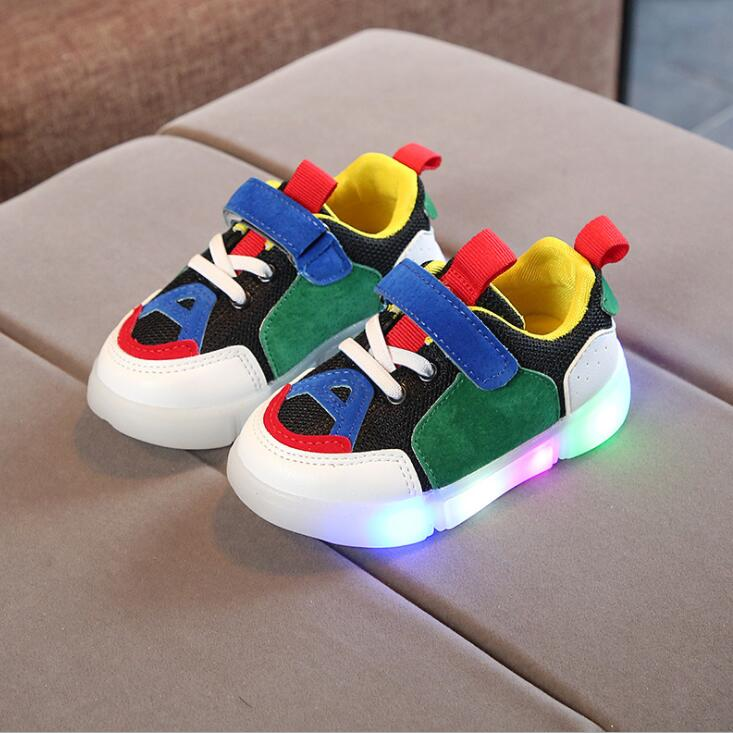 New Spring Autumn Glowing Girls Sneakers Kids Basket Led Children Lighting Shoes Boys Illuminated Luminous Sneaker(China)