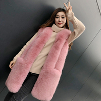 2018 новый fox Меховой жилет женский длинный участок настоящие волосы жилет король меха лисы большой карман дамы теплая куртка