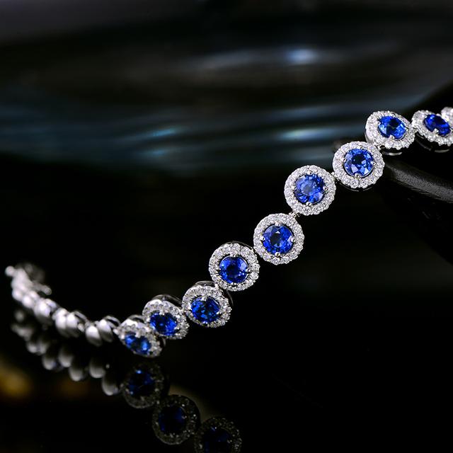 Caimao 4.23ctw Genuine Sapphire and Diamond Bracelet 18kt White gold Gorgeous Jewelry