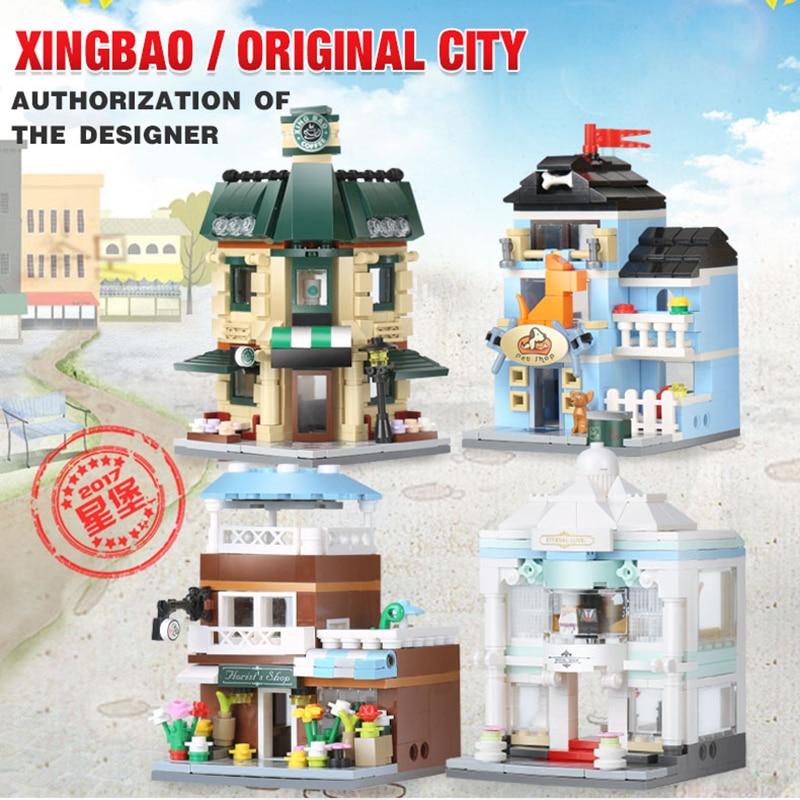 Xingbao Creator Mini Streetview 4 in 1 the Coffee Shop Wedding Store Flower Shop Pet Shop Set City Building Blocks Children Gift