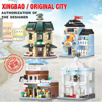 Xingbao Creator Mini Streetview 4 in 1 the Coffee Shop Wedding Store Flower Shop Pet Shop Set Building Blocks Legoinglys City