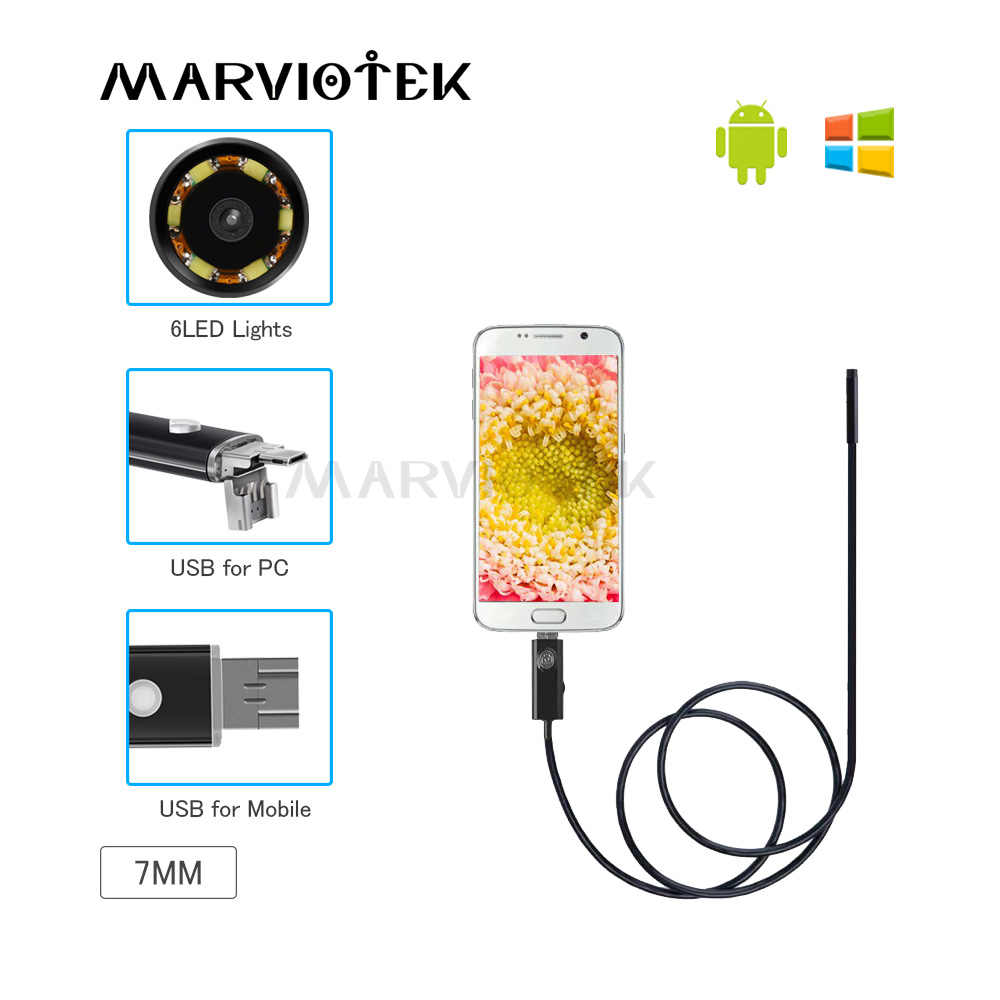 2In1 1M 7mm Android PC 6LED HD USB Endoscope Snake Borescope Inspection Camera