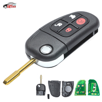 KEYECU Replacement Remote Key Fob 4 Button 315/433MHz Adjustable 4D60 Chip for Jaguar X type S type XJ Uncut Blank Blade
