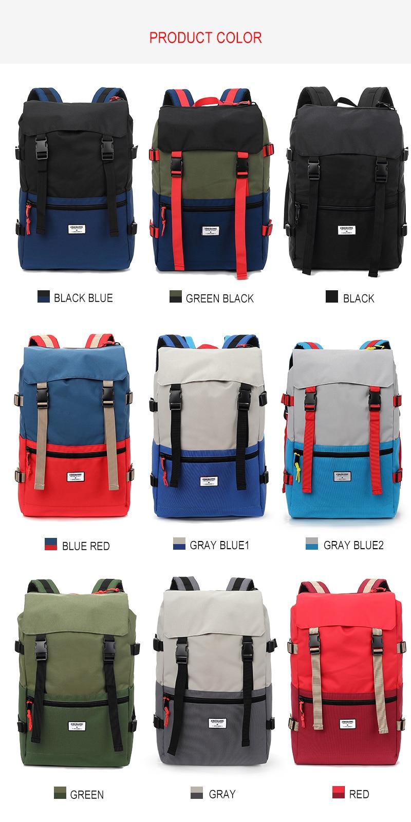 KINGSLONG Travel Men Waterproof Drawstring Bag America Backpack for Laptop Male Large Capacity Bag for Teenagers KLB1342-6 6