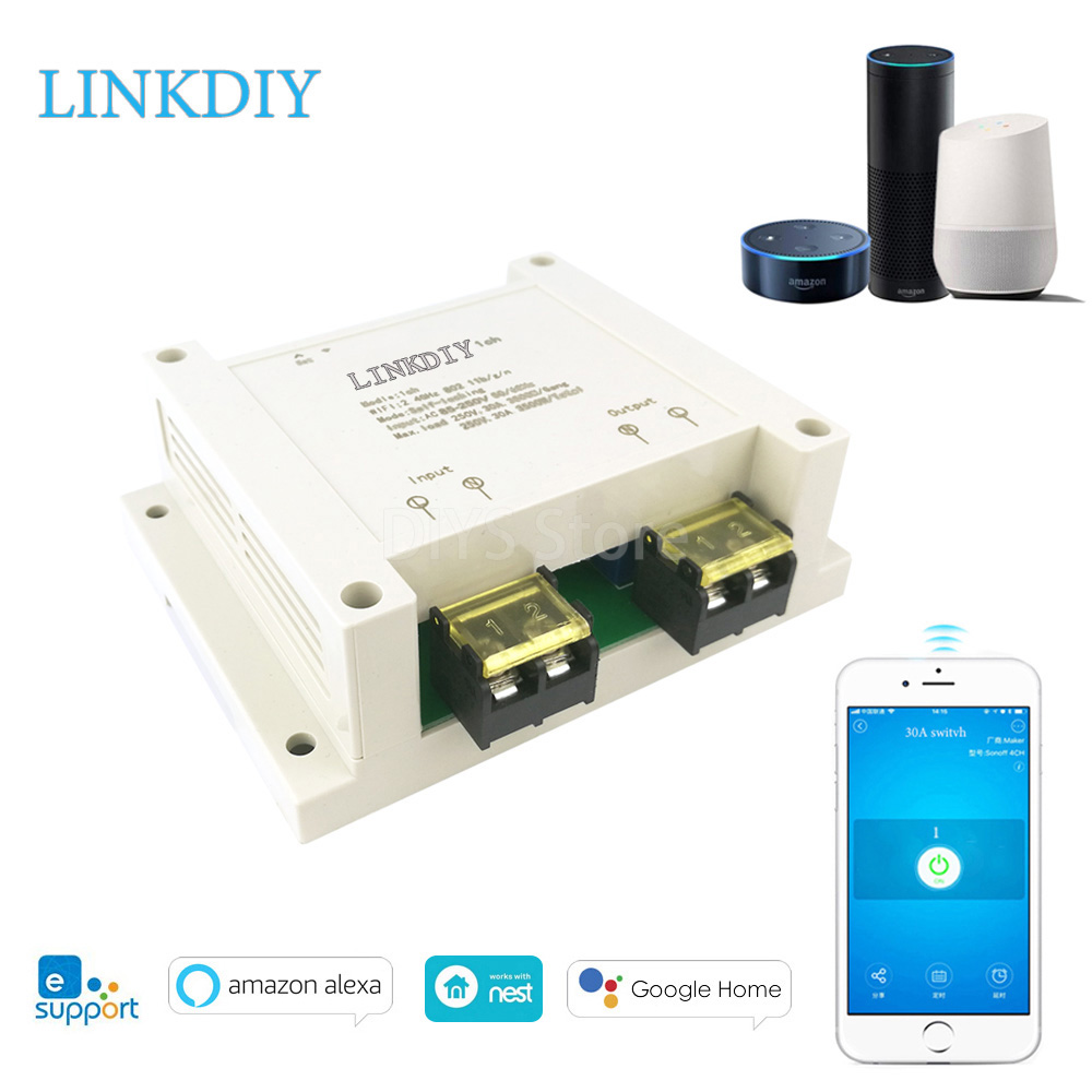 Wifi Smart Switch 30A Relay Universal DIY Smart Home Device Wifi Light Work  with Alexa Google home