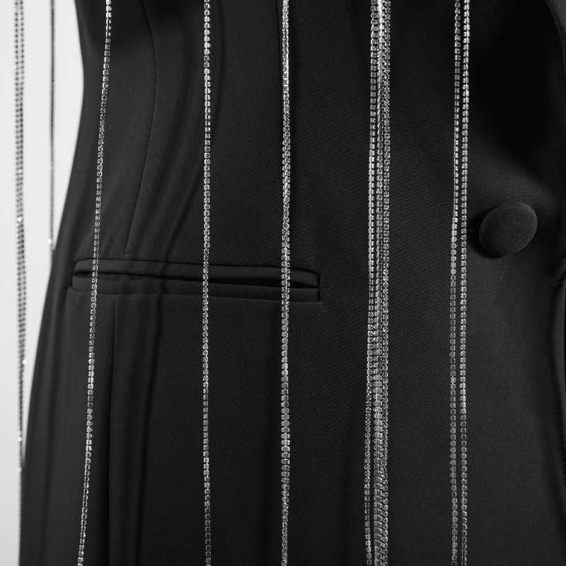 GETSRING Женский блейзер весенняя куртка Женский длинный костюм Блейзер Алмазная цепочка с коротким рукавом Длинный Блейзер Куртка модный костюм пальто новый