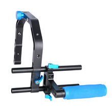 C-Shape Video Camera Cage Bracket + Top Handle Grip +15mm Rod  for 15mm DSLR Rig Rail Support System