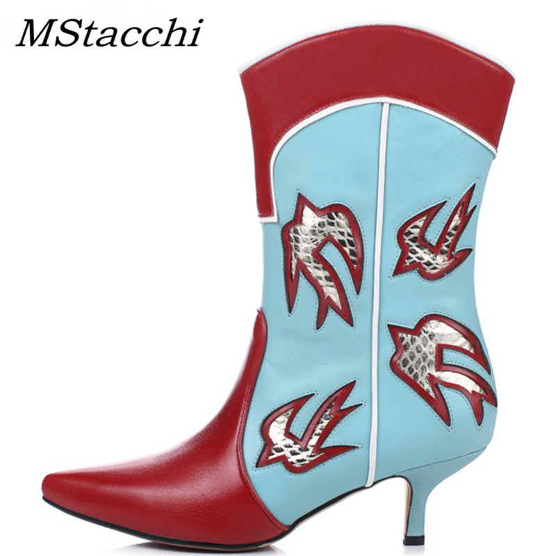 MStacchi Kitten Heels Ethnic Botas Women Slip On Western Mid-calf Boots Mujer Bird Print Patchwork Shoes Embroidery Ladies BootsMStacchi Kitten Heels Ethnic Botas Women Slip On Western Mid-calf Boots Mujer Bird Print Patchwork Shoes Embroidery Ladies Boots