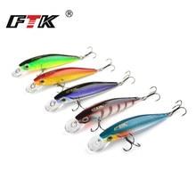 FTK Fishing Lure Kit Minnow 5pcs/lot Professional 3D Eye Tackle Set Lifelike Bass Swim Bait Hard 80mm 8g Wobbler HB