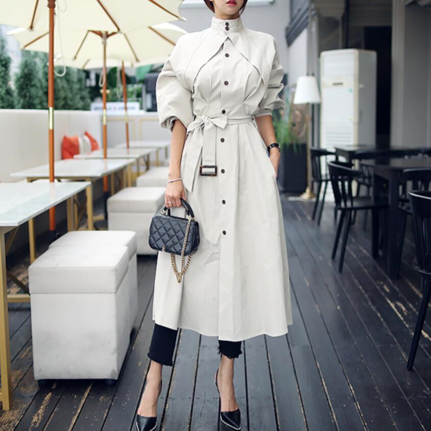 2019 Women Autumn Winter Long Trench coat Fashion Elegant Overcoat femme Stand Collar Lace Up Single-breasted Windbreakers w777