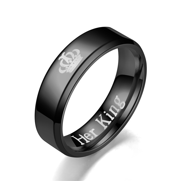 His Queen Crown Ring For Women Black Her King Men Silver Stainless Steel Couple Rings Wedding Jewelry In Bands From Accessories On