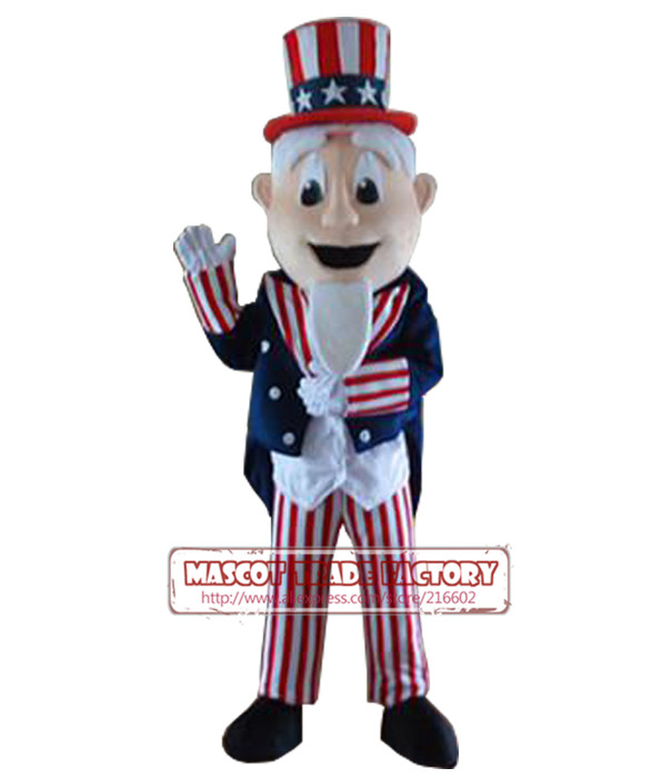 NEW Lovely Uncle Sam Costume Adult Uncle Sam Mascot Costume