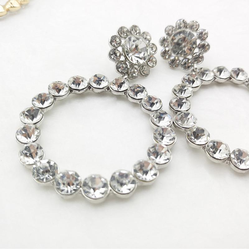AENSOA Trendy Crystal Round Pendant Drop Earrings For Women Fashion Pearl Charm Statement Jewelry Wedding Earrings Female 19 13