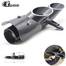 Universal Motorcycle dual toce slip-on Exhaust Muffler double holes For YAMAHA R6 ZX6R Z900 CBR500R GSXR1000R Stainless Steel dle111 double holes exhaust