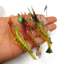 Realistic Artificial Soft Shrimp Lure Hook with Leader Cord Trace Luminous Predator Fishing Baits 9.5cm 6g