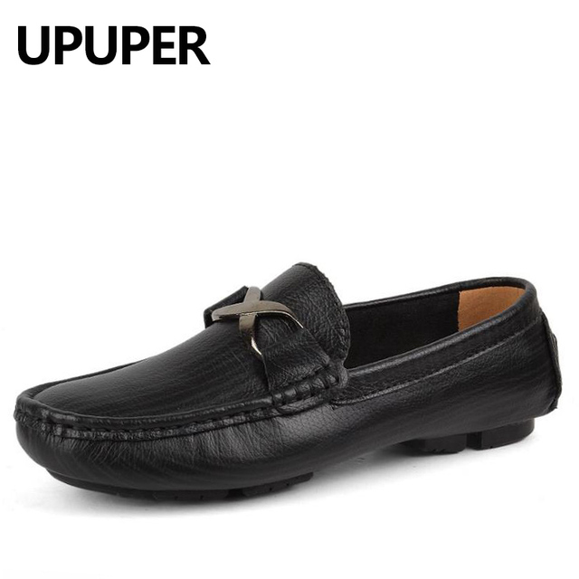 0cb57a023c55 Fashion Spring Autumn Brand Casual Men Loafers Slip-On Leather Men s  Driving Shoes Soft Bottom Doug Shoes Big Size 35-50 yards